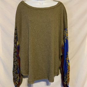 We the free new olive green paisley sleeve shirt